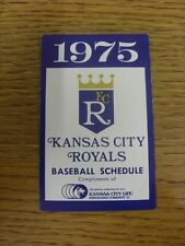 1975 Fixture Card: Baseball - Kansas City Royals (fold out style). Any faults wi