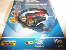 """Monster RCA Adapter Cable 6"""" Long 140292-00 Rca Male Plug To 2-Rca Female NEW"""
