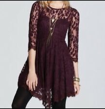 Free People Purple Floral Mesh Lace 3/4 Sleeve Holiday Dress SZ S, 4, MSRP $148