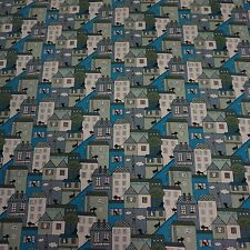 Blue Houses and Cats Linen Blend Fabric (per metre)