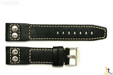 24mm Black Smooth Leather RIVET Watch Band Strap Fits Luminox Anti-Allergic