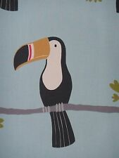 "SCION/HARLEQUIN CURTAIN FABRIC ""Terry Toucan"" 2.4 METRES  HONEY/CHARCOAL/SKY"