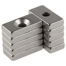 New N50 Super Strong 10pcs 20x10x3mm Hole 4mm Rare-Earth Neodymium Block Magnets