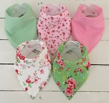 Bandana Dribble Bib Bundle x 5 Girls ~ Pretty Floral & Spot Prints ~ Bilibib