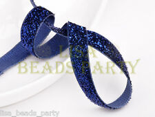"New 5yards 3/8"" 10mm Bling Ribbon Bows Wedding Party Decoration Sew Dark Blue"