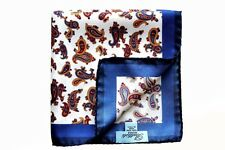 Battisti Pocket Square White with blue/gold/crimson paisley, pure silk