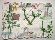 C&F Quilted Cotton Placemat GARDEN FOLLY White with Floral