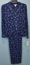 Women's Blue Floral Print Pajama Set by Charter Club Size Large