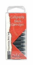 12 BLACK MANUSCRIPT INK CARTRIDGES INTERNATIONAL SIZE FOUNTAIN PEN MC0461CB