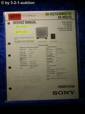 Sony Service Manual SA VE215 / WMS215 /SS MS215 Speaker System (#4511)