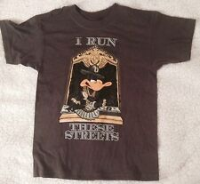 BOYS LARGE T SHIRT I RUN THESE STREETS DAFFY DUCK LOONEY TUNES WARNER BROS TEE