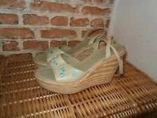 NEW STUNNING SHOES SIZE 6.5 - WEDEGES - LEATHER - LIGHT GREEN by FERUCCI