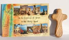 Olive Wood Prayer Hand Cross +Gift Postcard Footsteps of Jesus Christ, Holy Land