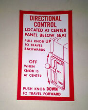 TAYLOR-DUNN DIRECTIONAL CONTROL STICKER #94-308-00 FOR YOUR GOLF/UTILITY CAR(T)