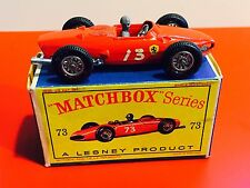 MATCHBOX LESNEY #73 FERRARI F1 RACING CAR GRAY DRIVER WITH ORIGINAL BOX 73