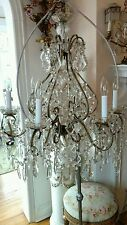 OMG ANTIQUE VTG FRENCH ITALIAN macaroni beaded chandelier LAMP CRYSTAL PRISMS