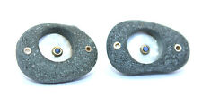 Contemporary SIGNED Modernist Sterling 18k Gold PEBBLE Black DIAMOND Cufflinks