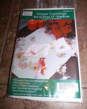 """Tobin Stamped Embroidery Napkins WINTER GREETINGS 17"""" Pack of 4"""