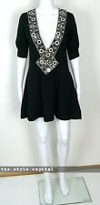 ALICE McCALL [ Size 8 ] Black Low Cut Embroidered Cotton Blend Dress