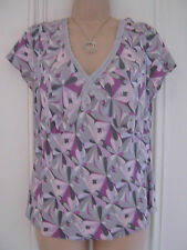 Pretty silk Monsoon UK 14 silk top in grey and pink with velvet trim around neck