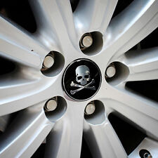 4x Car SUV Wheel Center Hub Caps 56mm Metal Cross Bone Skull Logo Emblem Sticker