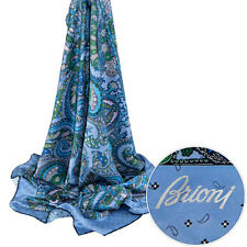 New BRIONI Square Blue Paisley Hand Made Silk Wrap Scarf Shawl Headscarf