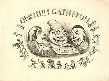 1840 VICTORIAN PRINT ~ OMNIUM GATHERUM ~ TITLE PAGE ONLY HENRY HEATH CARICATURES