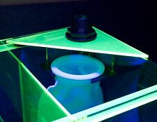 "Fluorescant 4"" Filter Sock Holder corner NO-Splash with 3 socks- aquarium sump"