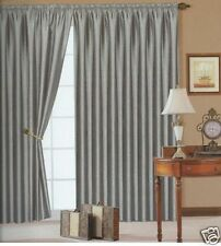"Extra Long 90"" x 108"" Silver Faux Silk Fully Lined Pencil Pleat Silver Curtains"
