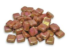 6mm Rose Gold Luster Picasso Czech Glass Flat Square Beads (50) #2206