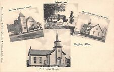 Minnesota postcard Buffalo Multiview Swedish Mission, Presbyterian, M.E. Church