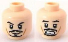 LEGO - Minifig, Head Dual Sided Black Moustache Smiling / Scared (Jack Sparrow)
