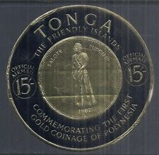 1963 Tonga CO7, O17 - Official Airmail, Queen Salote Gold Coin, 15sh Black Used*