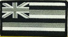 HAWAII Flag Iron-On Tactical Patch Black, Gray & White Version, Black Border #48