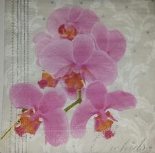 4 x single  PAPER NAPKINS  FLOWERS ORCHID  DECOUPAGE  CRAFTING-8