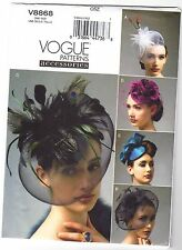 Vogue V8868 Sewing Pattern Hairband Hat Rosette, Feathers, Bow, 5 Styles