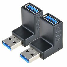 2x USB 3.0 A Male to Female 90 Degree Right Angle Adapter Plug