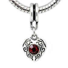 January Birthstone Dark Red Rhinestone Heart Dangle Bead for Charm Bracelets