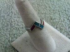 Lightning Bolt Ring Turquoise & Red Coral Uni-Sex
