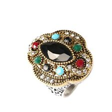 Silver/Gold Plated Three Colos Bohemia Style Women 's Anniversary Ring
