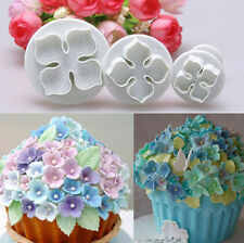 3x Hydrangea Fondant Cake Decorating Sugar Craft Plunger Cutter Mold HI UK