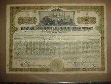 Evansville Indianapolis &Terre Haute Railroad Bond Stock Certificate