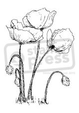 A7 'Poppies' Unmounted Rubber Stamp (SP004374)