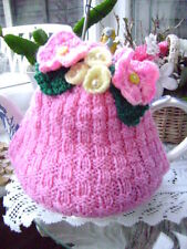 New Hand Knitted Floral Tea Cosy ~ Large