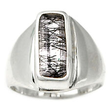 Tourmalated Quartz (Black Rutile) 925 Sterling Silver Ring Jewelry s.7 BRFR256
