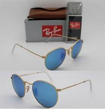 Ray Ban ROUND RB 3447 112/4L 50mm Matte Gold Frame / Blue Mirror Polarized Lens