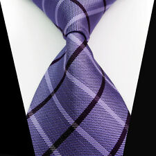 New Classic Purple Black Check 100%Silk Jacquard Woven Necktie Men's Tie