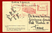 """PARMA, CARTOLINA CON ANNULLO ROSSO REGIO CONVITTO """"MARIA LUIGIA"""", 1938     m"""