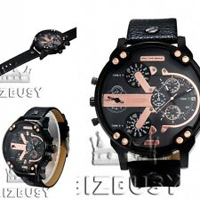 Men's Big Wrist Watch Faux Leather Belt Sport Military Steel Case Quartz Часы