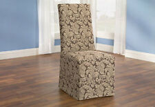 Sure Fit Scroll Long Dining Room Chair Slipcover Brown